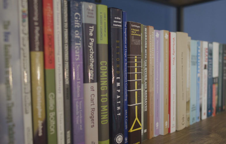 Bookshelf with counselling books